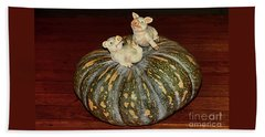 Pigs On Pumpkin By Kaye Menner Beach Towel