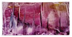Pink Abstract Castles Beach Towel