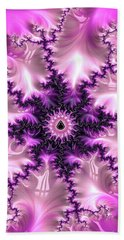 Beach Sheet featuring the digital art Pink And Purple Abstract Fractal by Matthias Hauser