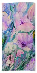 Spring Flower Medley Pink And Purple Beach Towel