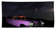 Pink Cadillac In The Desert Under The Milky Way Beach Sheet