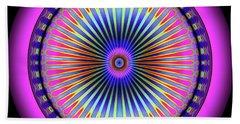 Beach Towel featuring the digital art Pink Circus Sun  by Visual Artist Frank Bonilla