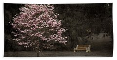 Pink Dogwood Tree And A Bench Beach Towel