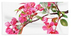 Pink Flowering Tree Blossoms Beach Towel