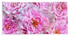 Pink Flowers Everywhere Beach Towel