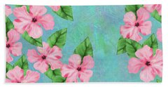 Pink Hibiscus Tropical Floral Print Beach Towel