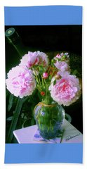 Beach Towel featuring the pyrography Pink Peonies Vase by Elly Potamianos