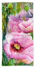 Pink Poppy Flowers Beach Towel