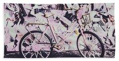 Pink Posterized Pushbike Beach Towel