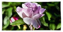 Pink Rose And Dewdrops Beach Towel