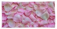 Pink Rose Petals Beach Towel