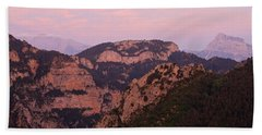 Beach Towel featuring the photograph Pink Skies Above Pena Montanesa by Stephen Taylor
