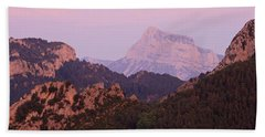 Beach Towel featuring the photograph Pink Skies And Alpen Glow In The Anisclo Canyon by Stephen Taylor
