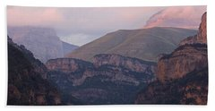 Beach Towel featuring the photograph Pink Skies In The Anisclo Canyon by Stephen Taylor