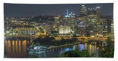 Beach Towel featuring the photograph Pittsburgh Lights by David R Robinson