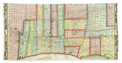 Plan Of Philadelphia, 1860 Beach Towel