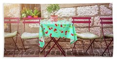 French Cafe Beach Towels
