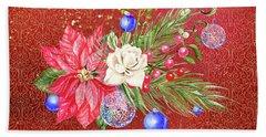 Poinsettia With Blue Ornaments  Beach Towel