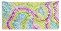 Pointillism - Palm Beach Pink And Green Beach Towel