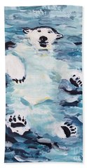 Beach Towel featuring the painting Polar Bear by Maria Langgle