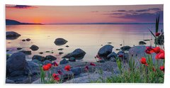 Poppies By The Sea Beach Towel