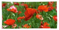 Poppies In The Field Beach Towel