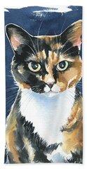 Poppy Calico Cat Painting Beach Towel