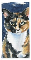 Poppy Calico Cat Painting Beach Sheet