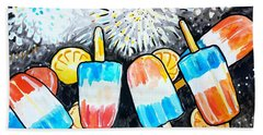 Popsicles And Fireworks Beach Sheet