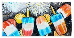 Popsicles And Fireworks Beach Towel
