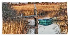Poquoson Marsh Boat Beach Towel
