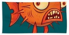 Porcupine Blowfish Cartoon - Blow Me Beach Towel