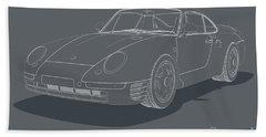 Porsche 959 - White Blueprint On Grey Beach Towel