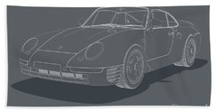 Porsche 959 - White Blueprint On Grey Beach Sheet