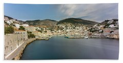 Beach Towel featuring the photograph Port At Hydra Island by Milan Ljubisavljevic