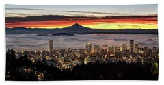 Portland Foggy Sunrise Beach Towel