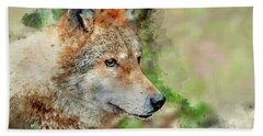 Portrait Wolf In Autumn Forest Beach Towel