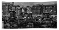 Portsmouth Tugboats At Dawnt In Black And White Beach Towel