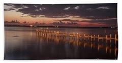 Pre-dawn Pier Glow Beach Towel
