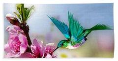 Pretty Hummingbird Beach Towel