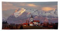 Prezganje Church With Snowy Kamnik Alps In The Background. Beach Towel