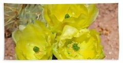 Prickly Pear Cactus Trio Bloom Beach Towel