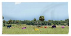 Psychedelic Cows Beach Sheet