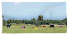 Psychedelic Cows Beach Towel