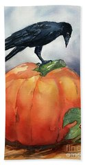 Pumpkin And Crow Beach Towel