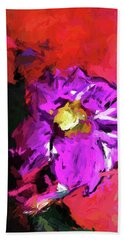 Purple And Yellow Flower And The Red Wall Beach Towel