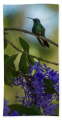 Purple Blossoms And Hummingbird Beach Sheet