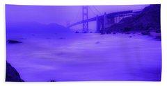 Purple Golden Gate Fog Beach Towel