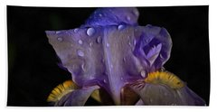 Purple Iris And Dewdrops Beach Towel