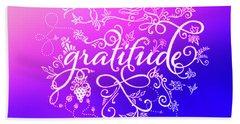 Purply Pink Gratitude Beach Towel
